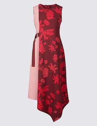 Marks and Spencer Colour Block Floral Print Wrap Midi Dress