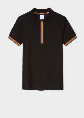 Paul Smith Men's Slim-Fit Black Cotton-Pique Polo Shirt With 'Artist Stripe' Details