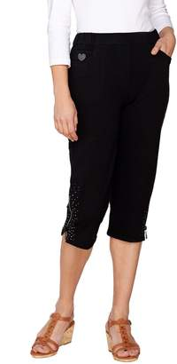 Factory Quacker DreamJeannes Capri Pants with Zipper and Rhinestones
