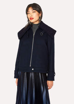 Paul Smith Women's Navy Wool-Blend Jacket With Boucle Collar