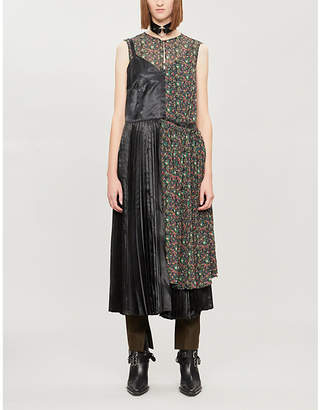 Junya Watanabe Floral-print rayon and crepe midi dress