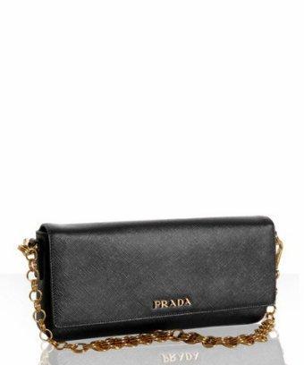 Prada black saffiano chain link convertible shoulder bag
