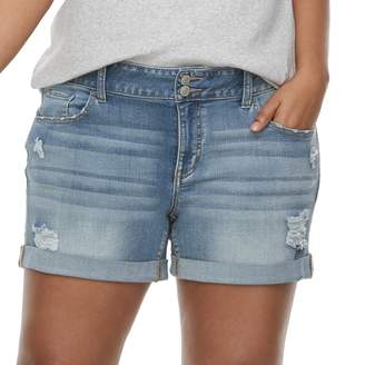 So Juniors' Plus Size SO Double-Button Denim Midi Shorts