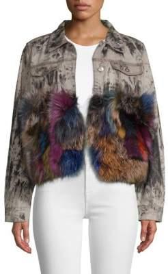 Jocelyn Denim Jacket With Fox Trim