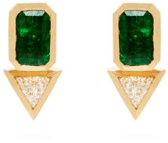 AZLEE 18kt gold, emerald & diamond studs