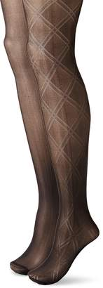 Betsey Johnson Women's Fashion Tights In Double Diamond Pattern and Solid Black