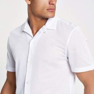 River Island White mesh revere collar shirt