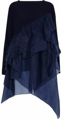 Antonio Berardi Draped Organza-Paneled Cady Top
