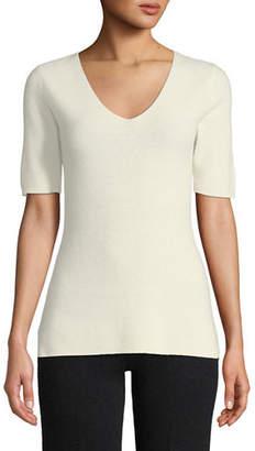 Neiman Marcus Cashmere Short-Sleeve Lounge Top