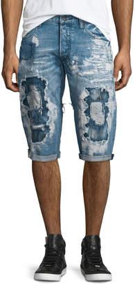 PRPS Destroyed Bleach-Splatter Denim Shorts, Blue