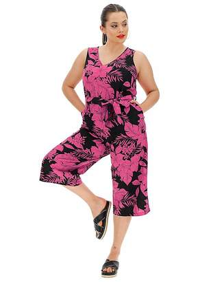 Simply Be Fushia Floral Linen V Neck Jumpsuit