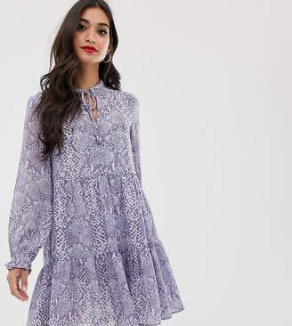 New Look Petite tiered smock dress in blue print