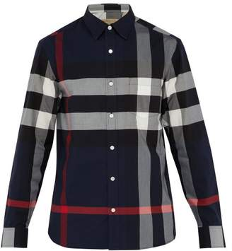 Burberry Windsor House Check Cotton Blend Shirt - Mens - Navy