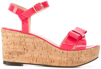 Tila March bow wedge Carolina sandals
