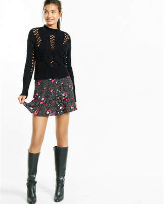 Express crocheted cable knit mock neck abbreviated sweater $59.90 thestylecure.com