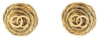 Chanel Logo Coiled Clip-On Earrings