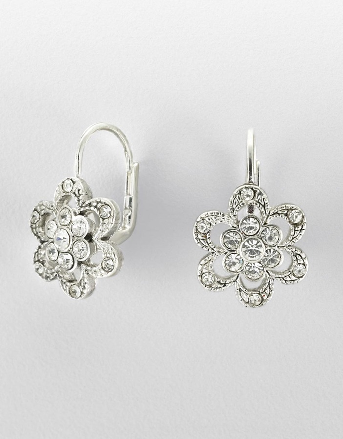 BETSEY JOHNSON Silvertone Crystal Pavé Flower Earrings