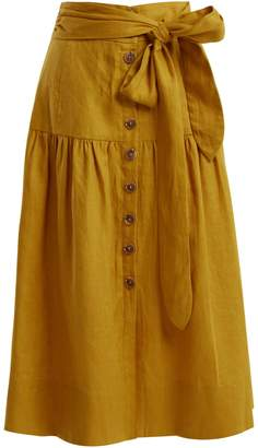 Sea Elsie tie-waist linen midi skirt