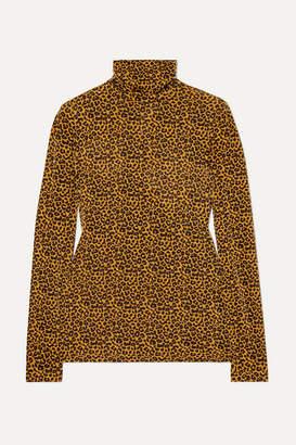 Paul & Joe Metallic Leopard-print Stretch-jersey Turtleneck Top - Mustard