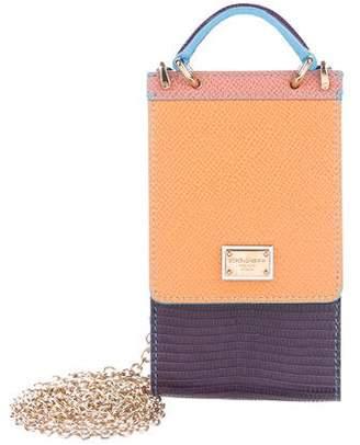 Dolce & Gabbana Textured Leather Chain-Link Crossbody Bag