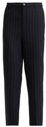 Ganni Hewitt Pinstripe Cropped Trousers - Womens - Navy