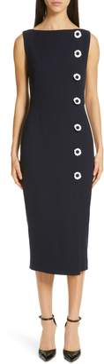Lela Rose Floral Button Wool Blend Crepe Dress