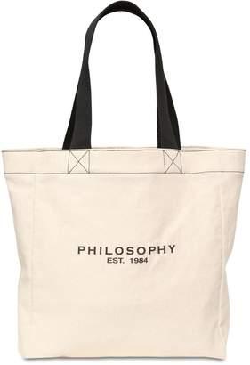 Philosophy di Lorenzo Serafini Logo Printed Cotton Canvas Tote