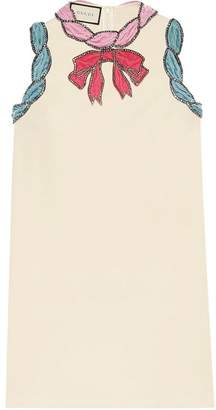 Gucci Stretch viscose dress with velvet trim