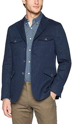 Bugatchi Men's Unconstructed Herringbone Safari Jacket