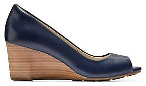 Cole Haan Women's Sadie Open Toe Leather Wedge Pumps
