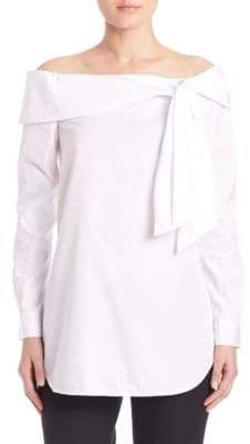 Tibi Cotton Off-the-Shoulder Bow Top