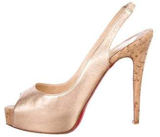 Christian Louboutin Metallic Leather Peep-Toe Sandals