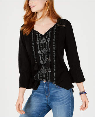Style&Co. Style & Co Petite Embroidered Bell-Sleeve Cotton Top