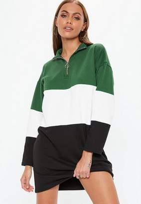 Missguided Green Oversized Long Sleeve High Neck Zip Dress