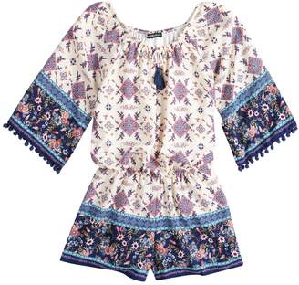My Michelle Girls 7-16 Bell Sleeve Tassel Trimmed Romper
