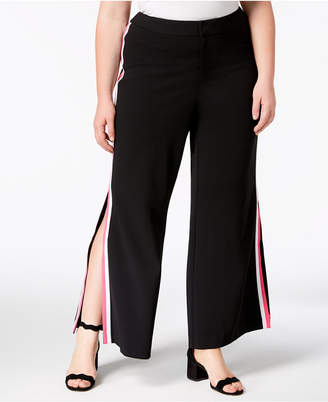 INC International Concepts I.n.c. Plus Size Racing-Stripe Wide-Leg Pants, Created for Macy's