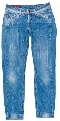 Marithé + François Girbaud Low-Rise Distressed Jeans