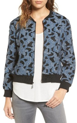 Women's Willow & Clay Floral Applique Bomber Jacket $129 thestylecure.com