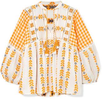 Dodo Bar Or Embroidered Tasseled Cotton-gauze Blouse - Mustard