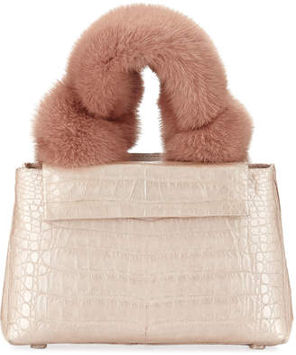 Nancy Gonzalez Mini Mink-Fur Knot Handle Bag
