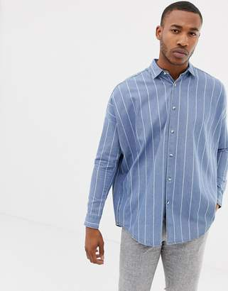 3fb7f03c4aef Asos Design DESIGN oversized drop shoulder denim stripe shirt