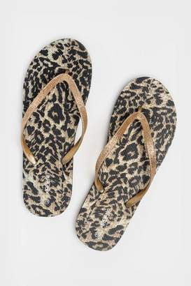 Ardene Leopard Glitter Flip-Flops