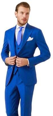 0ebd9384560 Lilis Men s Royal Blue Slim Fit Men Suit Peaked Lapel 3 Pieces Formal Blazer