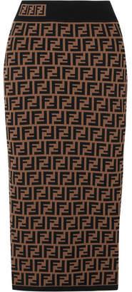 Fendi Jacquard-knit Midi Skirt - Brown
