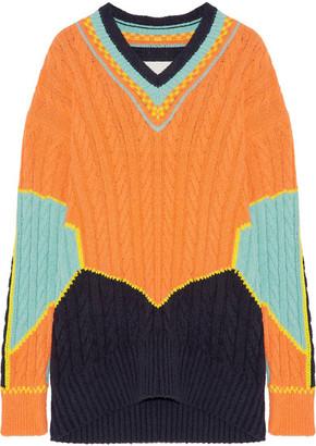 Maison Margiela - Oversized Color-block Cable-knit Cotton-blend Sweater - Orange $985 thestylecure.com