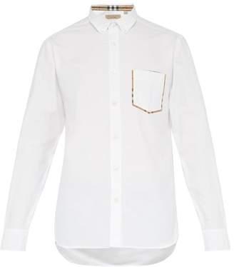 Burberry Check Trim Cotton Oxford Shirt - Mens - White