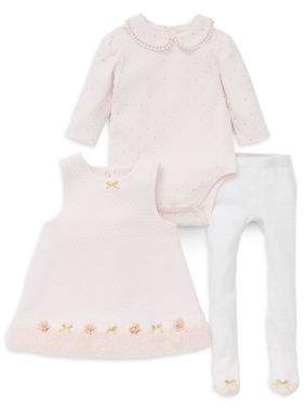 Little Me Baby Girl's Three-Piece Faux Fur-Trimmed Dress, Cotton Bodysuit and Tights Set