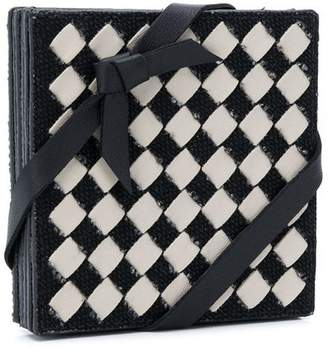 Bottega Veneta intrecciato checker coasters set
