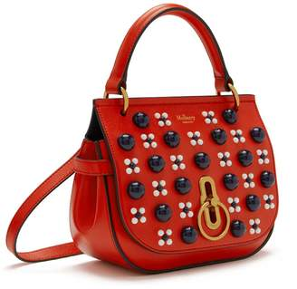 9bee4468aeb27 Mulberry Small Amberley Satchel Hibiscus Red Silky Calf Geo Floral with  Cabochon