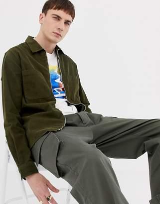 Paul Smith cord zip-thru overshirt in khaki